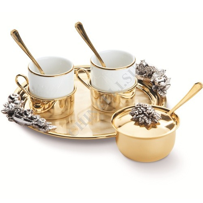 "Chinelli Кофейный набор ""You and Me"" на 2 персоны с сахарницей на круглом подносе (с золочением) 6053106"